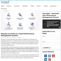 Reasons to Invest in a Good Performance Management System - Synergita Blogosphere