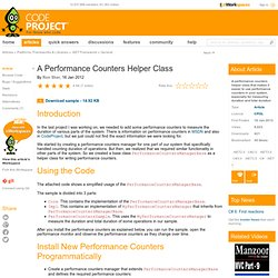 A Performance Counters Helper Class