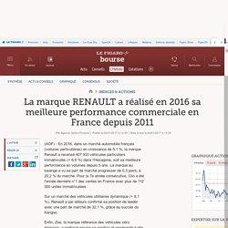 La marque RENAULT a réalisé en 2016 sa meilleure performance commerciale en France depuis 2011