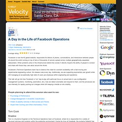 A Day in the Life of Facebook Operations: Velocity 2010, Web Per
