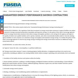 GUARANTEED ENERGY PERFORMANCE SAVINGS CONTRACTING -