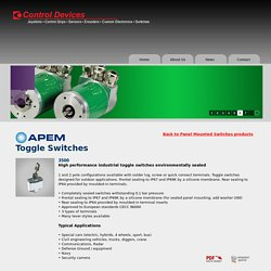 Buy High Performance Miniature & Industrial APEM Toggle Switches - Controldevices.Net