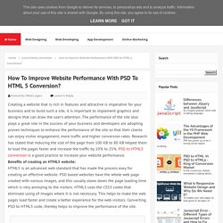 How to Improve Website Performance With PSD to HTML 5 Conversion? - MindLogics Blog