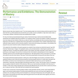 Performance and Exhibitions: The Demonstration of Mastery