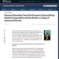 Research Roundup: Team Performance, Demystifying Market Composition and the Reality vs. Hype of Sponsored Search