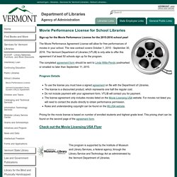 Movie Performance License for School Libraries