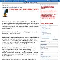 DÉPASSEMENT DE SOI & PERFORMANCE (FAITS ET ARGUMENTS)