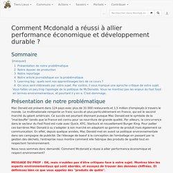 Comment Mcdonald a réussi à allier performance économique et développement durable ? — Movilab.org