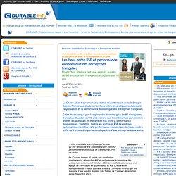 Les liens entre RSE et performance économique des entreprises françaises