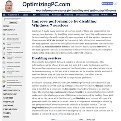 Improve performance by disabling Windows 7-services