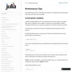 Performance Tips — Julia Language 0.4.1-pre documentation