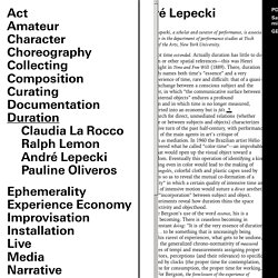 In Terms of Performance — Duration — André Lepecki