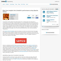 Real time insights into LinkedIn's performance using Apache Samza