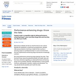 Performance-enhancing drugs: Know the risks