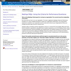 Baldrige FAQs: Using the Criteria for Performance Excellance