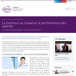 Le bonheur au travail et la performance des salariés - Externalisation Paie