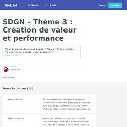 SDGN - Thème 3 : Création de valeur et performance Cartes