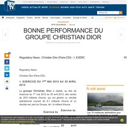 BONNE PERFORMANCE DU GROUPE CHRISTIAN DIOR