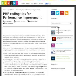PHP coding tips for Performance Improvement | Xpert Developer