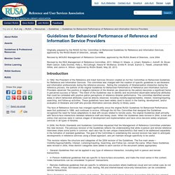 Guidelines for Behavioral Performance of Reference and Information Service Providers