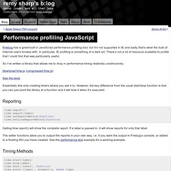 Performance profiling JavaScript