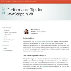 Performance Tips for JavaScript in V8