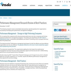 Performance Management Research Review of Best Practices