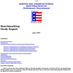 Serving the American Public: Best Practices in Performance Measu