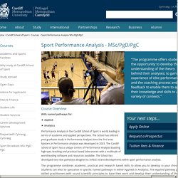 MSc Performance Analysis - Cardiff Metropolitan University