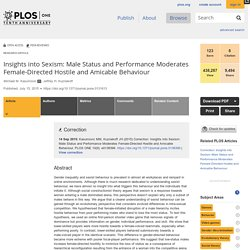 Insights into Sexism: Male Status and Performance Moderates Female-Directed Hostile and Amicable Behaviour