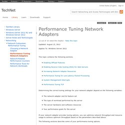 Performance Tuning Network Adapters