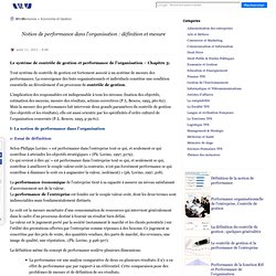 Notion de performance dans l'organisation : définition et mesure
