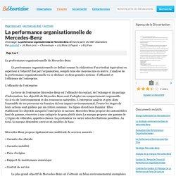 La performance organisationnelle de Mercedes-Benz - Chronologie - jadeabdl