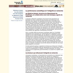 Université de Montréal - La performance scientifique et l'intégrité en recherche