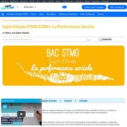 La performance sociale - Sujet d'étude CGRH Bac STMG 2014