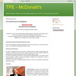 TPE - McDonalds: Une performance strategique