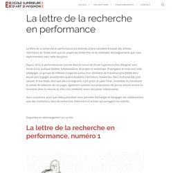 [FR]La lettre de la recherche en performance / ESA Avignon