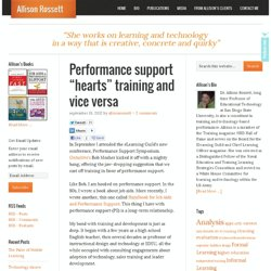 """Performance support """"hearts"""" training and vice versa"""