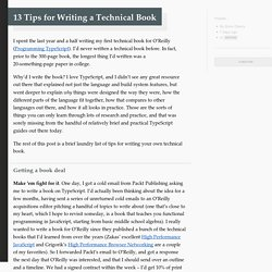 13 Tips for Writing a Technical Book