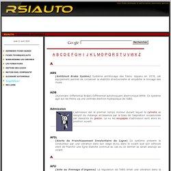 Glossaire du monde automobile - RSIAUTO - Fiches techniques et performances automobiles -