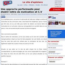 Une approche performante pour établir lettre de motivation et C.V
