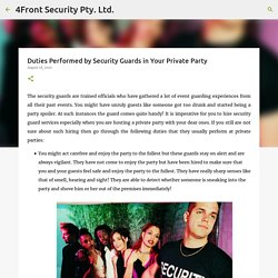 Duties Performed by Security Guards in Your Private Party