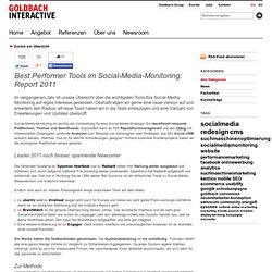 Best Performer Tools im Social-Media-Monitoring: Report 2011