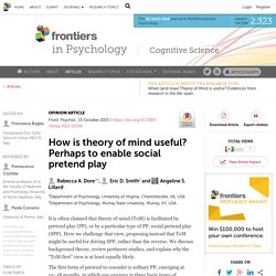 How is theory of mind useful? Perhaps to enable social pretend play