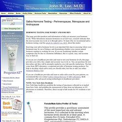 Saliva Hormone Testing - Perimenopause, Menopause and Andropause