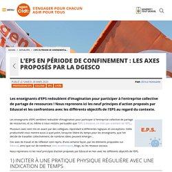 EPS en période de confinement : axes proposés par la DGESCO