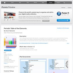Periodic Table of the Elements for iPad on the iTunes App Store