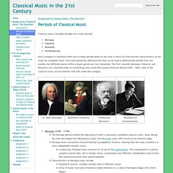 Periods of Classical Music - Classical Music in the 21st Century