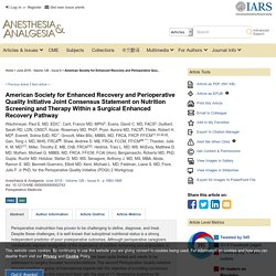 American Society for Enhanced Recovery and Perioperative Qua... : Anesthesia & Analgesia