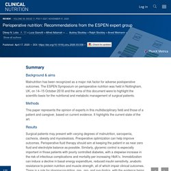 Perioperative nutrition: Recommendations from the ESPEN expert group - Clinical Nutrition